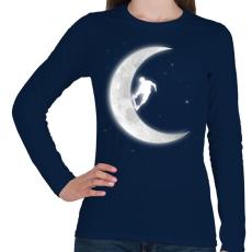 PRINTFASHION Gördeszkás a holdon - Női hosszú ujjú póló - Sötétkék