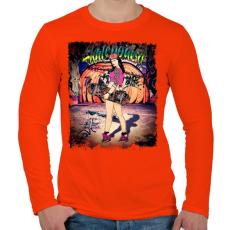 PRINTFASHION Gördeszkás lány - Férfi hosszú ujjú póló - Narancs