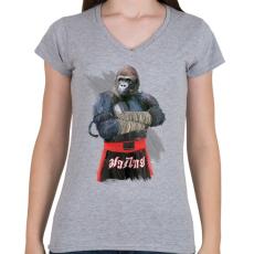 PRINTFASHION Gorilla thai box - Női V-nyakú póló - Sport szürke