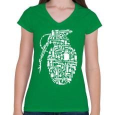 PRINTFASHION Gránát - fehér - Női V-nyakú póló - Zöld