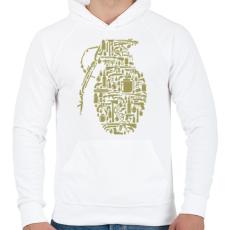 PRINTFASHION Gránát - Férfi kapucnis pulóver - Fehér