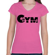 PRINTFASHION GYM - Női V-nyakú póló - Rózsaszín