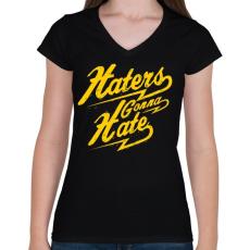 PRINTFASHION Gyűlölet - Női V-nyakú póló - Fekete
