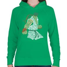 PRINTFASHION Hadouken - Női kapucnis pulóver - Zöld