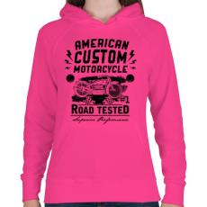 PRINTFASHION Hagyományos amerikai motor - Női kapucnis pulóver - Fukszia