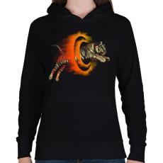 PRINTFASHION Halálugrás - Női kapucnis pulóver - Fekete