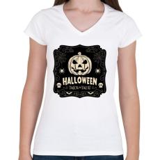 PRINTFASHION Halloween - Női V-nyakú póló - Fehér