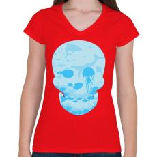 PRINTFASHION Halott tenger - Női V-nyakú póló - Piros