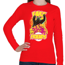PRINTFASHION Hamis barát - Női hosszú ujjú póló - Piros