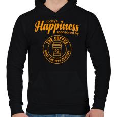 PRINTFASHION Happiness - Férfi kapucnis pulóver - Fekete