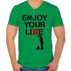 PRINTFASHION Hazugság - Férfi V-nyakú póló - Zöld