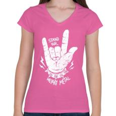 PRINTFASHION Heavy metal - Női V-nyakú póló - Rózsaszín