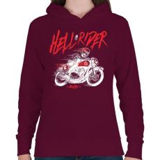 PRINTFASHION Hell Rider - fehér - Női kapucnis pulóver - Bordó