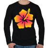 PRINTFASHION Hibiscus - Férfi hosszú ujjú póló - Fekete