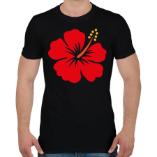 PRINTFASHION Hibiscus - Férfi póló - Fekete férfi póló