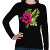 PRINTFASHION Hibiscus - Női hosszú ujjú póló - Fekete