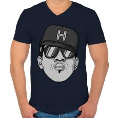 PRINTFASHION HipHop - Férfi V-nyakú póló - Sötétkék