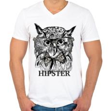 PRINTFASHION Hipster bagoly - Férfi V-nyakú póló - Fehér
