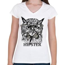 PRINTFASHION Hipster bagoly - Női V-nyakú póló - Fehér