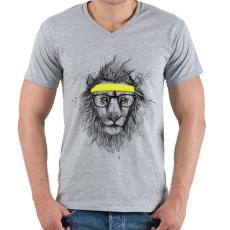 PRINTFASHION Hipster lion - Férfi V-nyakú póló - Sport szürke