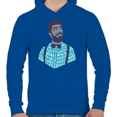 PRINTFASHION Hipszter - Férfi kapucnis pulóver - Királykék