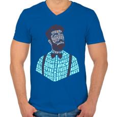PRINTFASHION Hipszter - Férfi V-nyakú póló - Királykék