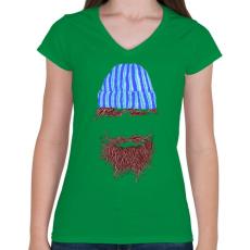 PRINTFASHION Hipszter - Női V-nyakú póló - Zöld