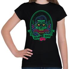 PRINTFASHION Hipszter zombi - Női póló - Fekete