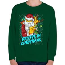 PRINTFASHION Hiszek a Karácsonyban - Gyerek pulóver - Sötétzöld