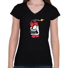 PRINTFASHION Hockey Dyna - Női V-nyakú póló - Fekete