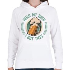 PRINTFASHION Hold my beer - Női kapucnis pulóver - Fehér