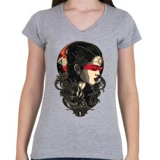 PRINTFASHION Holdkirálynő - Női V-nyakú póló - Sport szürke
