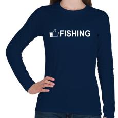 PRINTFASHION Horgász like - Női hosszú ujjú póló - Sötétkék