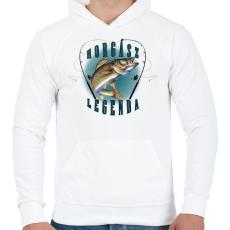 PRINTFASHION Horgászlegenda - Férfi kapucnis pulóver - Fehér