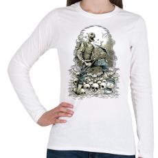 PRINTFASHION Horror bányász - Női hosszú ujjú póló - Fehér