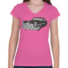 PRINTFASHION Hot rod - Női V-nyakú póló - Rózsaszín