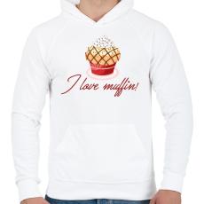 PRINTFASHION I love muffin - Férfi kapucnis pulóver - Fehér