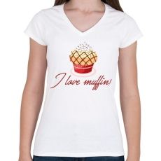PRINTFASHION I love muffin - Női V-nyakú póló - Fehér