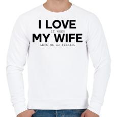 PRINTFASHION I love my wife. - Férfi pulóver - Fehér