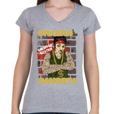 PRINTFASHION Igazi gangsta - Női V-nyakú póló - Sport szürke
