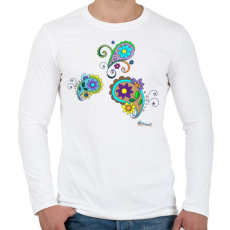 PRINTFASHION Indiai virágok - Férfi hosszú ujjú póló - Fehér