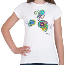 PRINTFASHION Indiai virágok - Női póló - Fehér