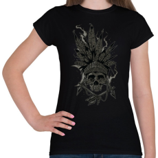 PRINTFASHION Indián koponya - Női póló - Fekete