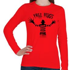 PRINTFASHION Ingyen ölelés - Női hosszú ujjú póló - Piros