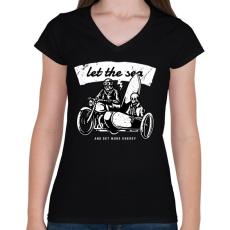 PRINTFASHION Irány a tenger! - Női V-nyakú póló - Fekete
