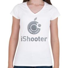 PRINTFASHION iShooter - Női V-nyakú póló - Fehér