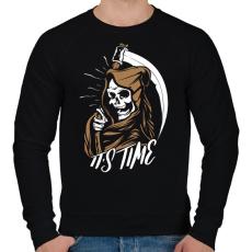 PRINTFASHION Itt az idő - Férfi pulóver - Fekete