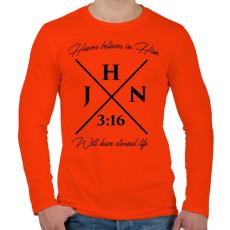PRINTFASHION János 3:16 - Férfi hosszú ujjú póló - Narancs