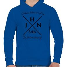 PRINTFASHION János 3:16 - Férfi kapucnis pulóver - Királykék