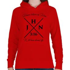 PRINTFASHION János 3:16 - Női kapucnis pulóver - Piros